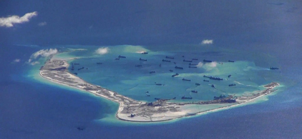 Caption: Subi Reef, Spratly Islands, South China Sea, in May 2015