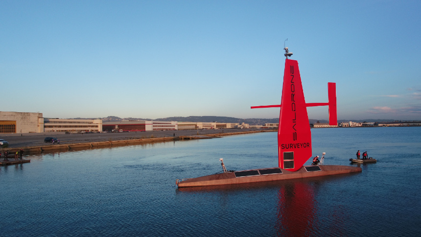 US tech firm unveils 22-metre wind- and solar-powered unmanned vessel