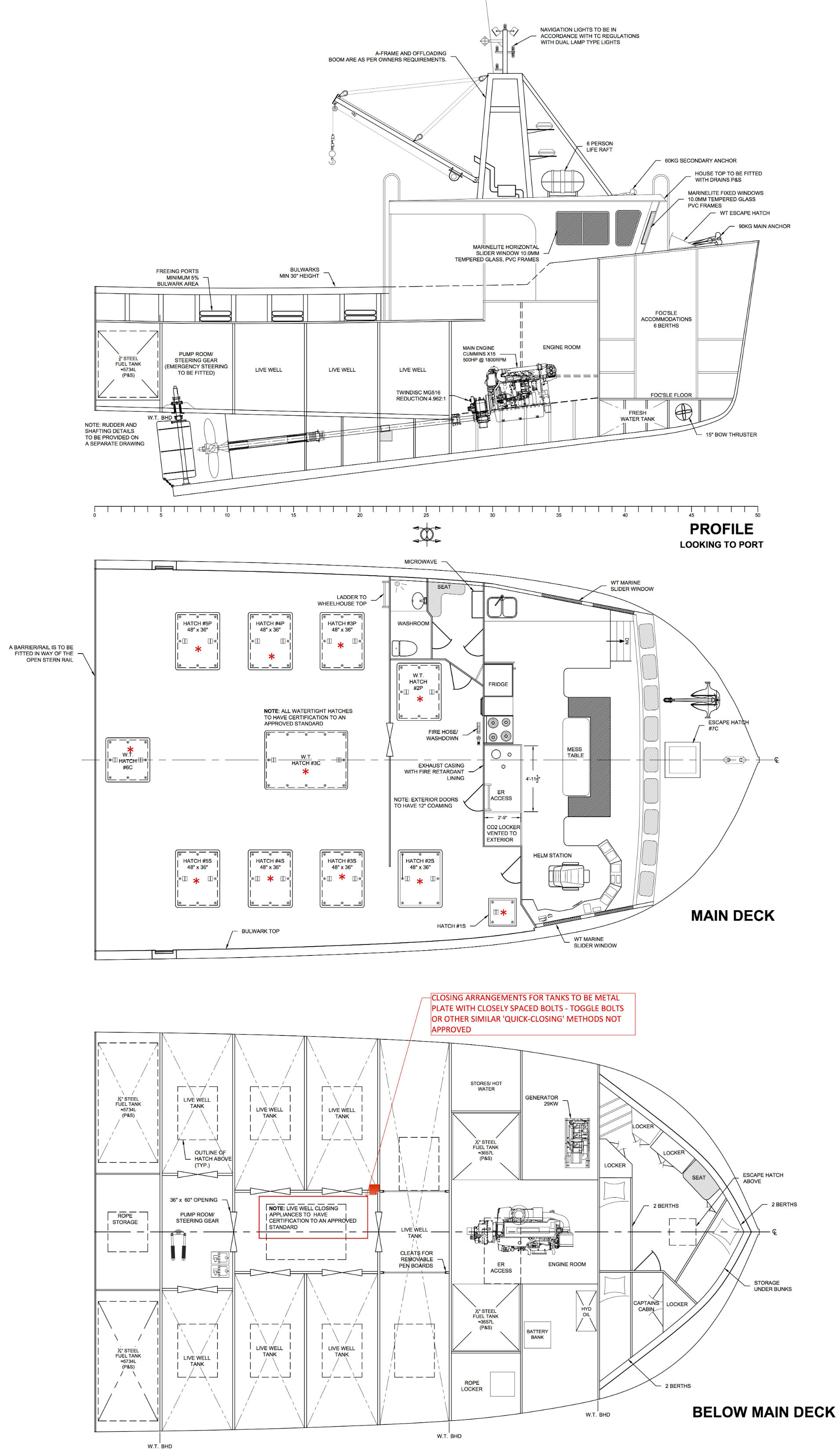 Ocean Swell X lobster boat Bayview Marine Canada General Arrangement drawing