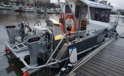 Best Electric Outboard Motor Supplier – Torqeedo (A pair of Torqeedo 10kW electric outboards fitted on the French hydrographic boat Cassiopée)
