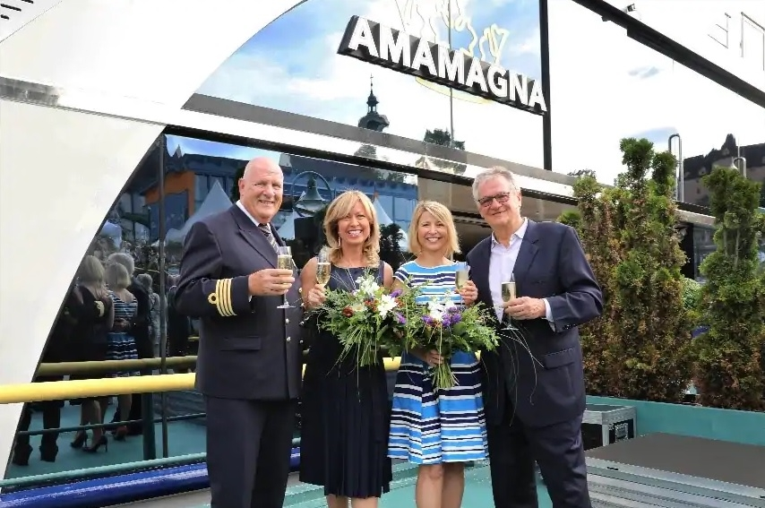 Famed American travel television host Samantha Brown (second from right) was ship's godmother at AmaMagna's christening on Monday, July 15.
