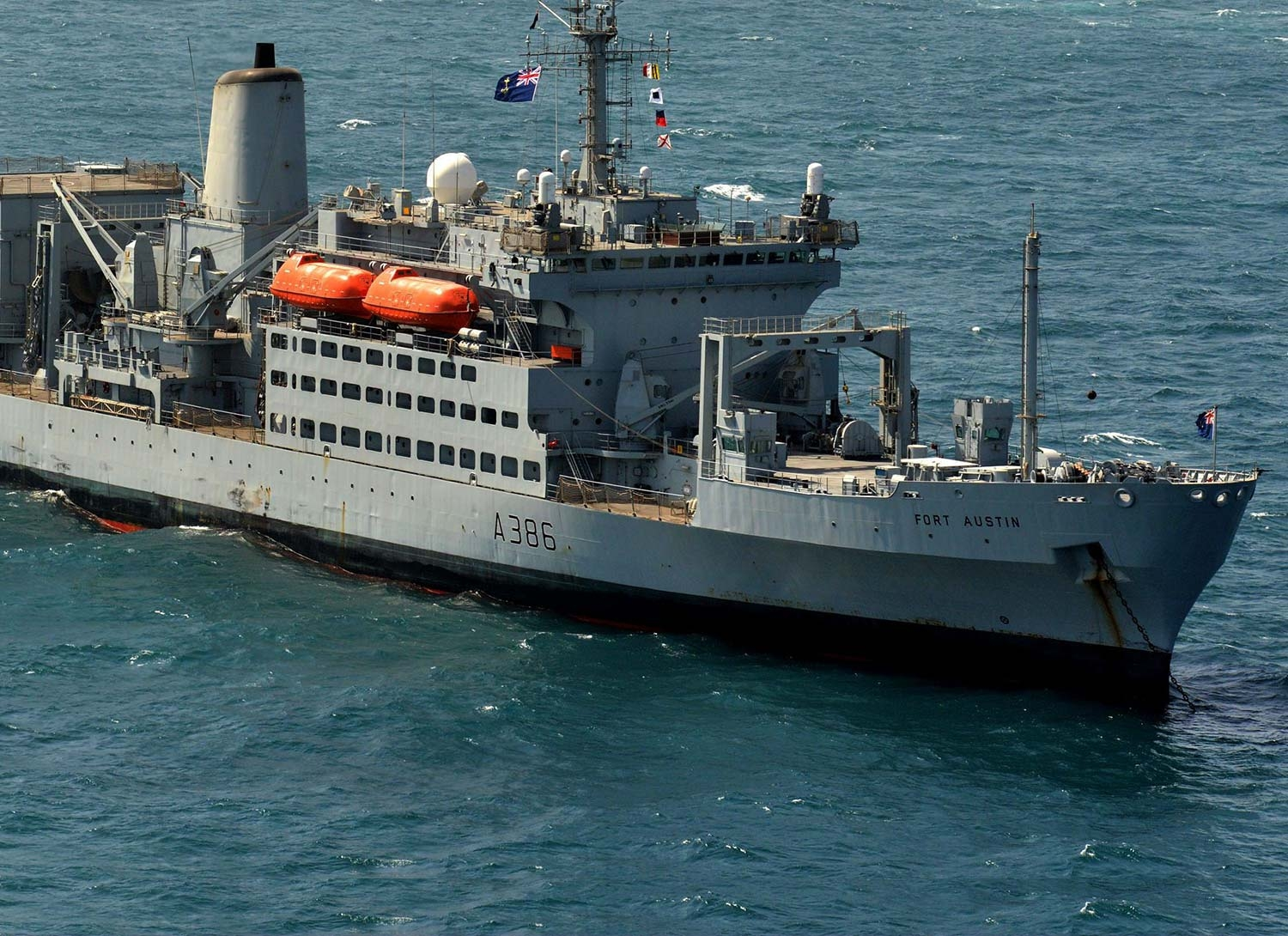 A Royal Navy solid support ship