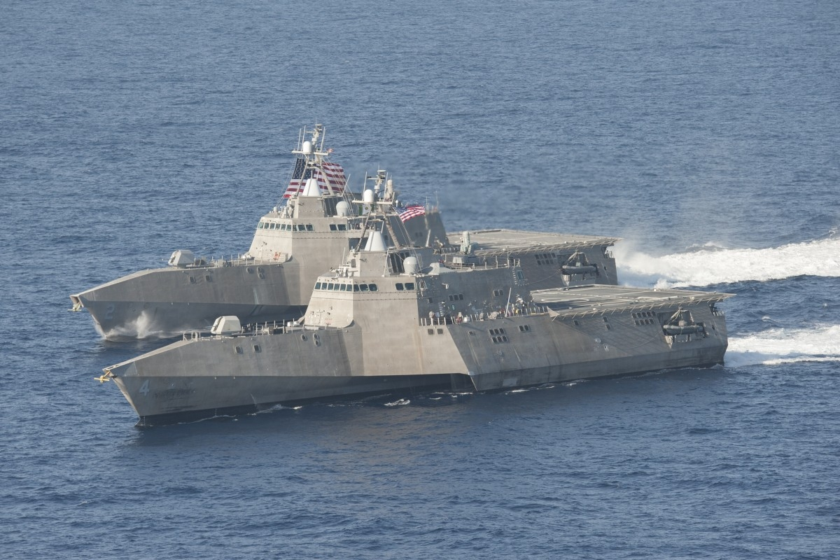 Austal-built Independence-class Littoral Combat Ships USS Independence (LCS 2) and USS Coronado (LCS 4)