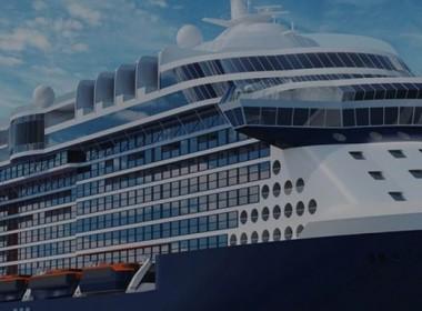 A cruise ship under construction at Chantiers de l'Atlantique for Celebrity Cruises