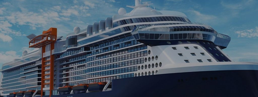 A cruise ship under construction at Chantiers de l'Atlantique for Celebrity Cruises