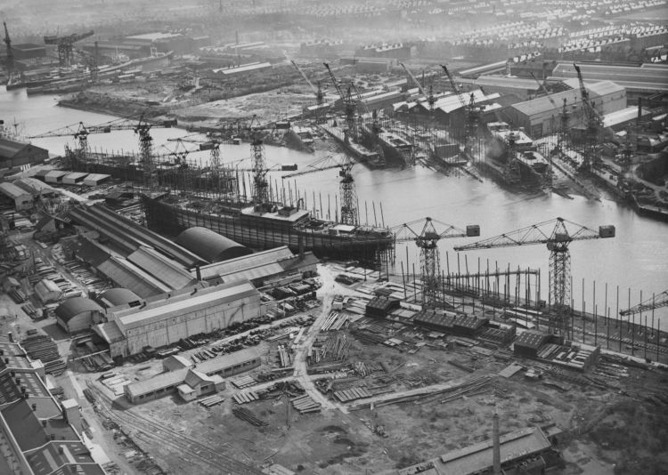 Aerial view of the Clyde shipyards, March 1957