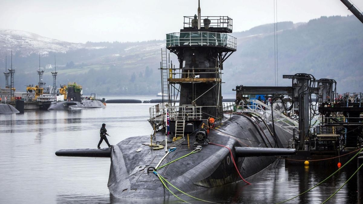The Vanguard-class submarine HMS Vigilant, one of four Royal Navy submarines armed with Trident missiles, is seen at Naval Base Clyde, also known as Faslane, in Scotland in January.