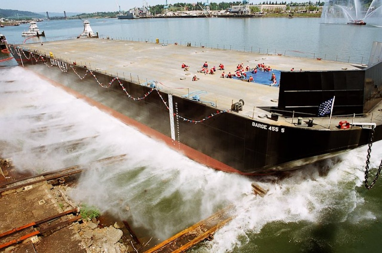 A barge built by Gunderson Marine