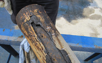 Holes in a lateral pipeline that caused the spill. Credit: NZF